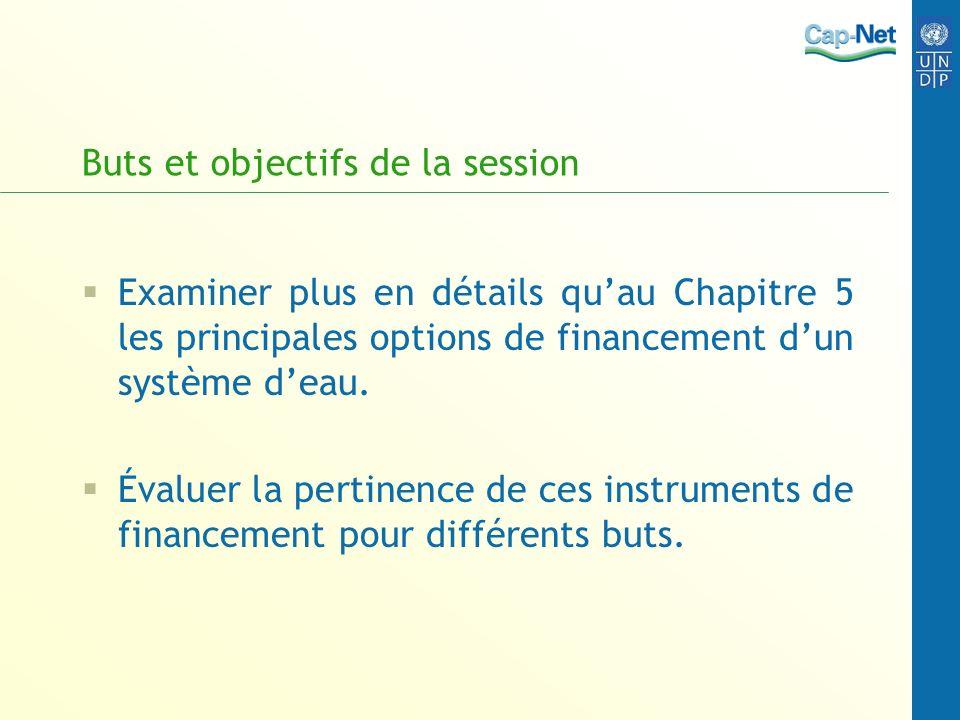 Buts et objectifs de la session Examiner plus en détails quau Chapitre 5 les principales options de financement dun système deau. Évaluer la pertinenc