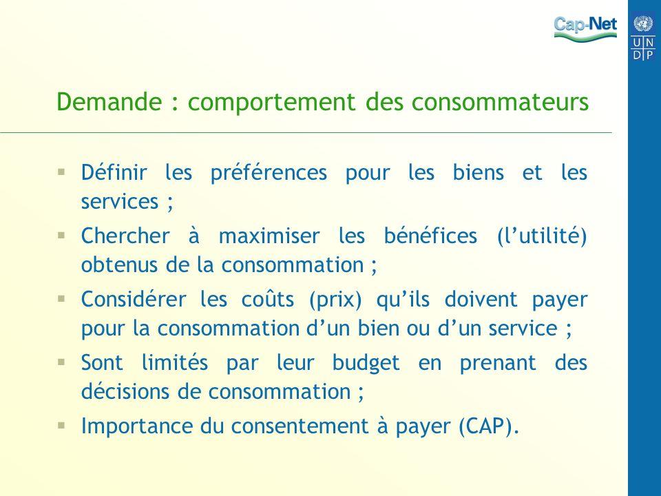 Demande : comportement des consommateurs Définir les préférences pour les biens et les services ; Chercher à maximiser les bénéfices (lutilité) obtenu