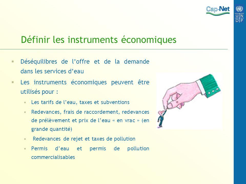 Définir les instruments économiques Déséquilibres de loffre et de la demande dans les services deau Les instruments économiques peuvent être utilisés