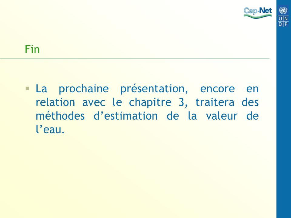 Fin La prochaine présentation, encore en relation avec le chapitre 3, traitera des méthodes destimation de la valeur de leau.