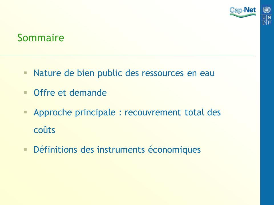 Sommaire Nature de bien public des ressources en eau Offre et demande Approche principale : recouvrement total des coûts Définitions des instruments é