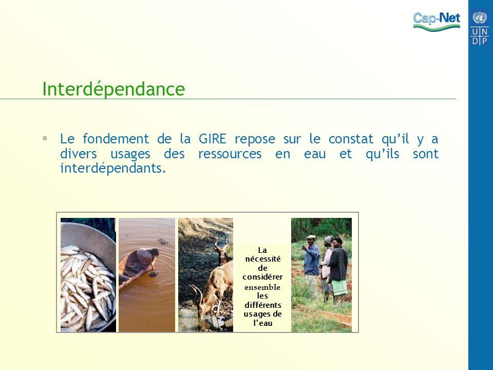 Interdépendance Le fondement de la GIRE repose sur le constat quil y a divers usages des ressources en eau et quils sont interdépendants. La nécessité