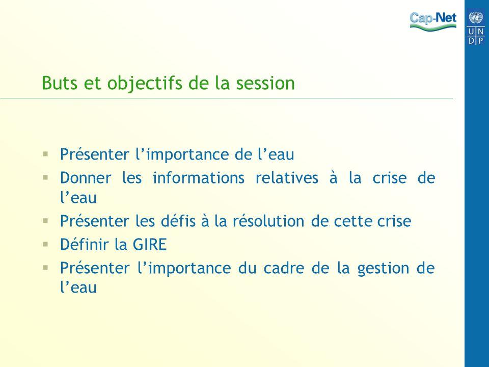 Buts et objectifs de la session Présenter limportance de leau Donner les informations relatives à la crise de leau Présenter les défis à la résolution