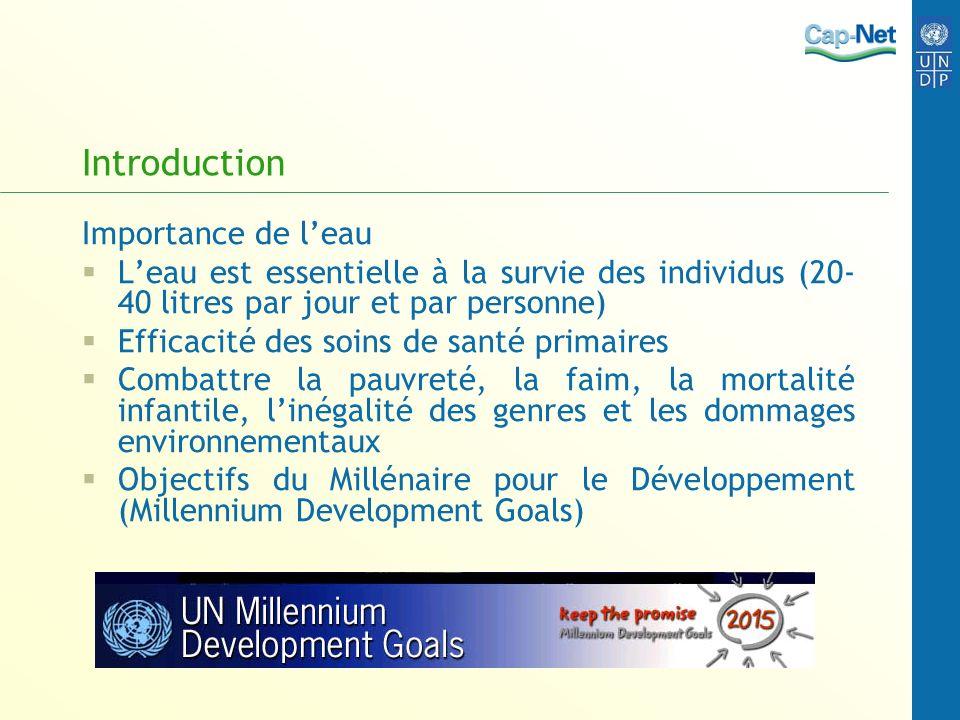Introduction Importance de leau Leau est essentielle à la survie des individus (20- 40 litres par jour et par personne) Efficacité des soins de santé