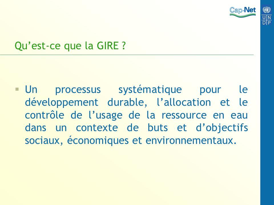 Quest-ce que la GIRE ? Un processus systématique pour le développement durable, lallocation et le contrôle de lusage de la ressource en eau dans un co