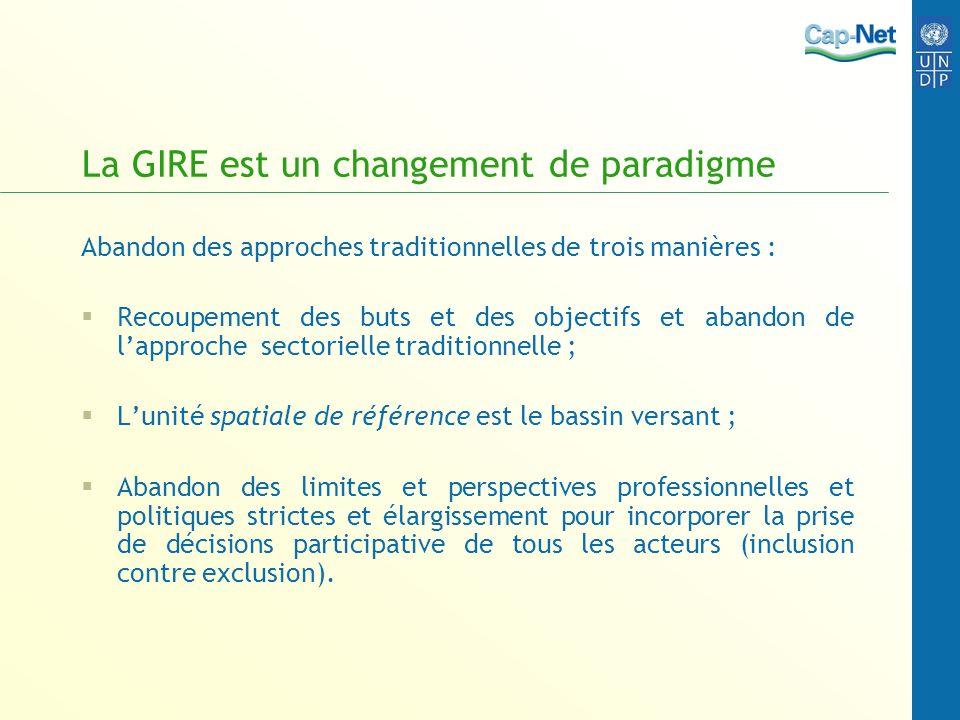 Interdépendance Le fondement de la GIRE repose sur le constat quil y a divers usages des ressources en eau et quils sont interdépendants.