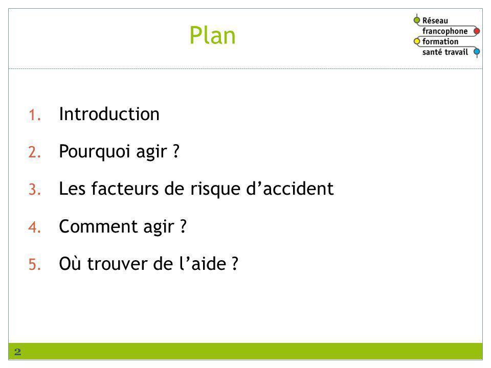 Plan 1. Introduction 2. Pourquoi agir ? 3. Les facteurs de risque daccident 4. Comment agir ? 5. Où trouver de laide ? 2