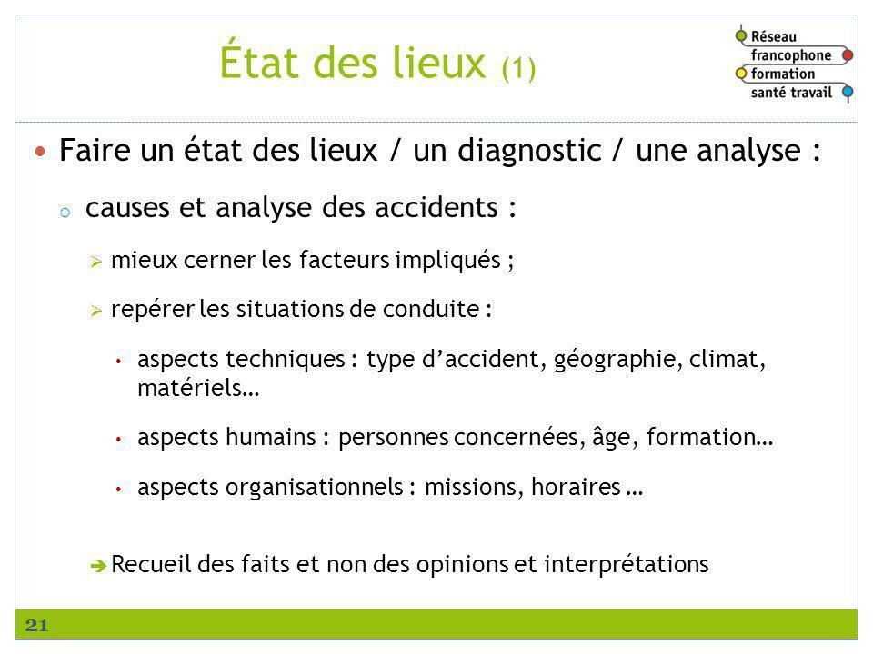 État des lieux (1) Faire un état des lieux / un diagnostic / une analyse : o causes et analyse des accidents : mieux cerner les facteurs impliqués ; r