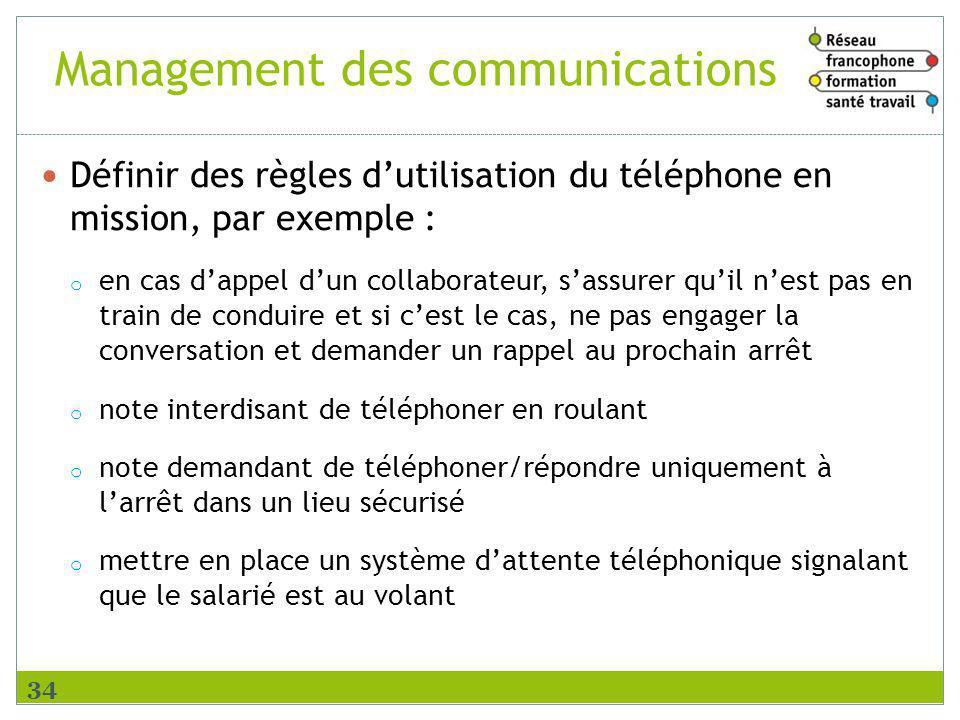 Management des communications Définir des règles dutilisation du téléphone en mission, par exemple : o en cas dappel dun collaborateur, sassurer quil