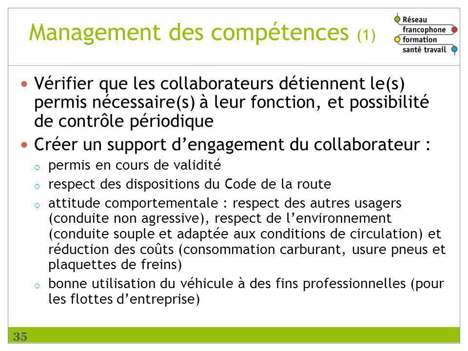 Management des compétences (1) Vérifier que les collaborateurs détiennent le(s) permis nécessaire(s) à leur fonction, et possibilité de contrôle pério