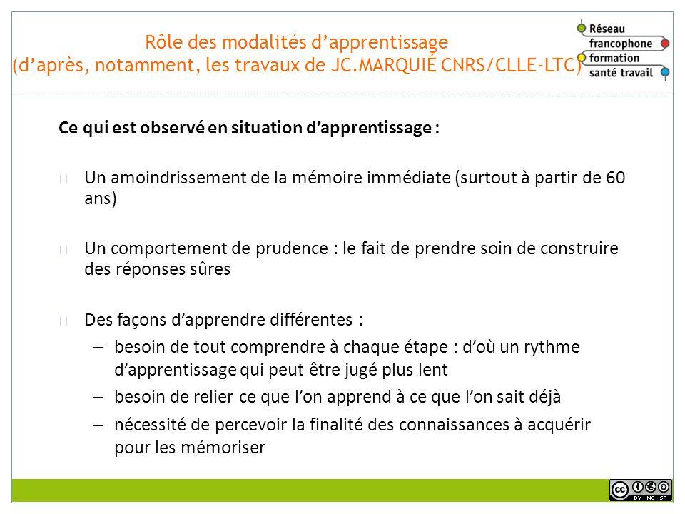 Vieillissement et ressources cognitives (daprès, notamment, les travaux de JC.MARQUIÉ CNRS/CLLE-LTC) Ces travaux montrent que : Lapprentissage est pos