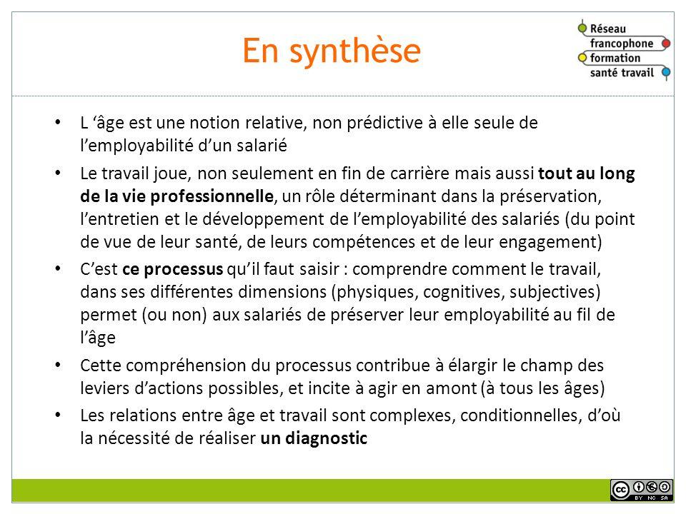 En synthèse sur les relations entre âge, santé et travail