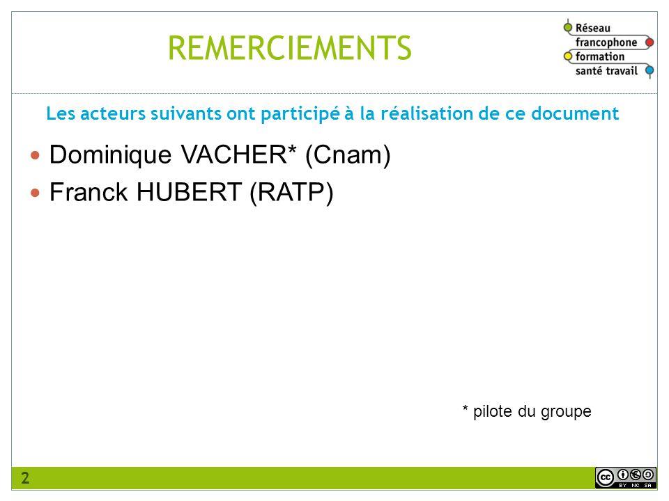 REMERCIEMENTS Dominique VACHER* (Cnam) Franck HUBERT (RATP) Les acteurs suivants ont participé à la réalisation de ce document 2 * pilote du groupe