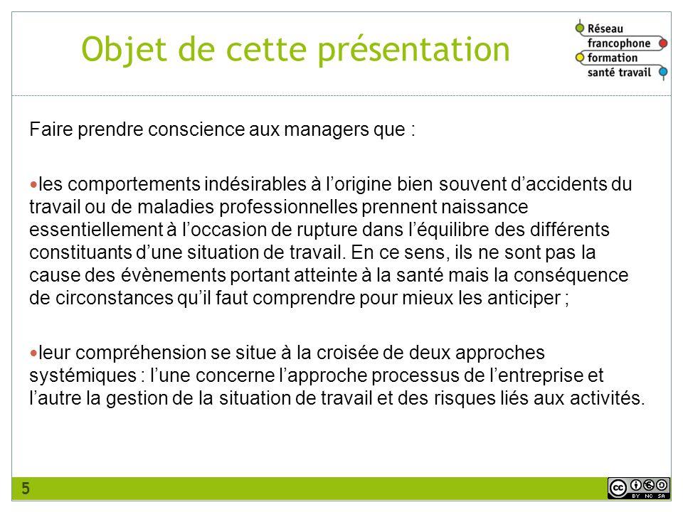 Objet de cette présentation Faire prendre conscience aux managers que : les comportements indésirables à lorigine biensouvent daccidents du travail ou