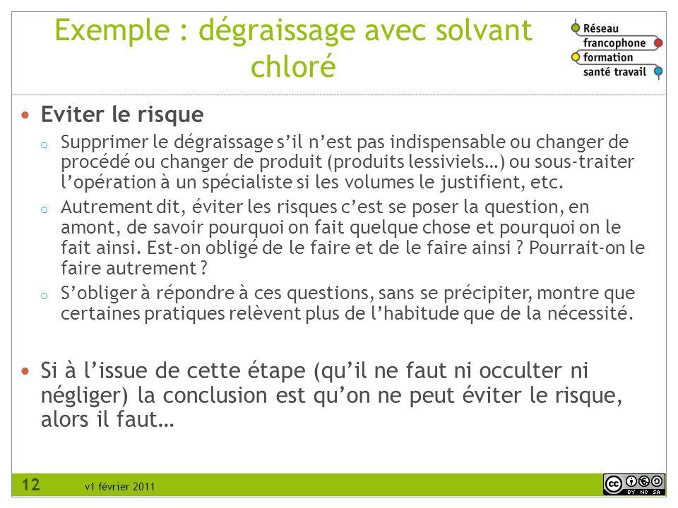 v1 février 2011 Exemple : dégraissage avec solvant chloré Eviter le risque o Supprimer le dégraissage sil nest pas indispensable ou changer de procédé