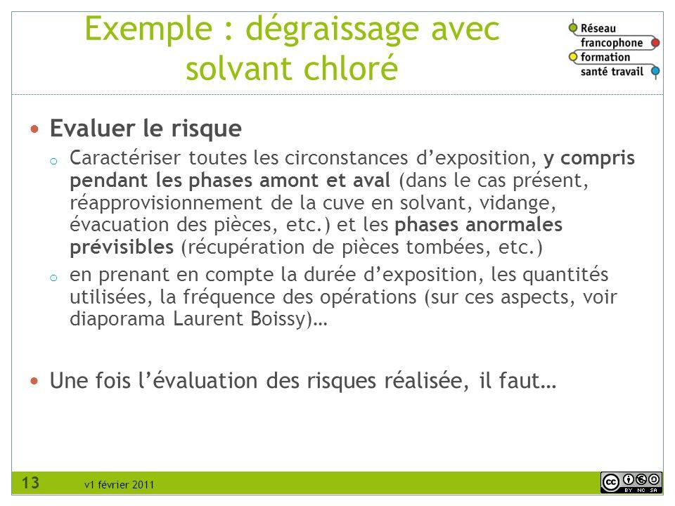 v1 février 2011 Exemple : dégraissage avec solvant chloré Evaluer le risque o Caractériser toutes les circonstances dexposition, y compris pendant les