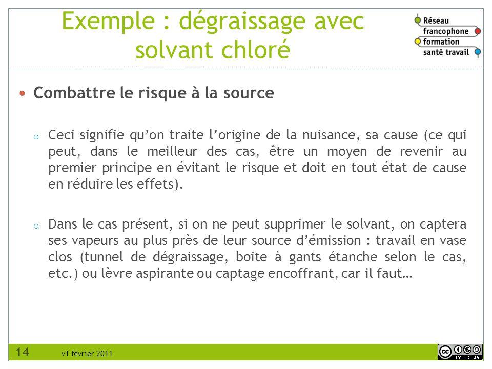 v1 février 2011 Exemple : dégraissage avec solvant chloré Combattre le risque à la source o Ceci signifie quon traite lorigine de la nuisance, sa caus