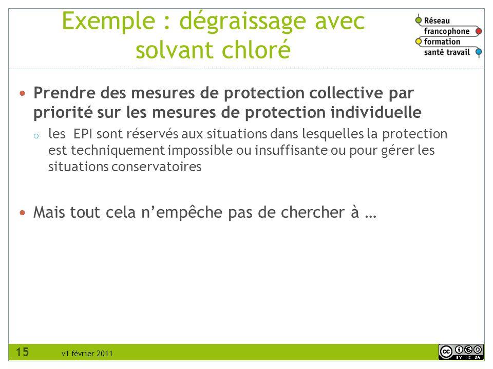 v1 février 2011 Exemple : dégraissage avec solvant chloré Prendre des mesures de protection collective par priorité sur les mesures de protection indi