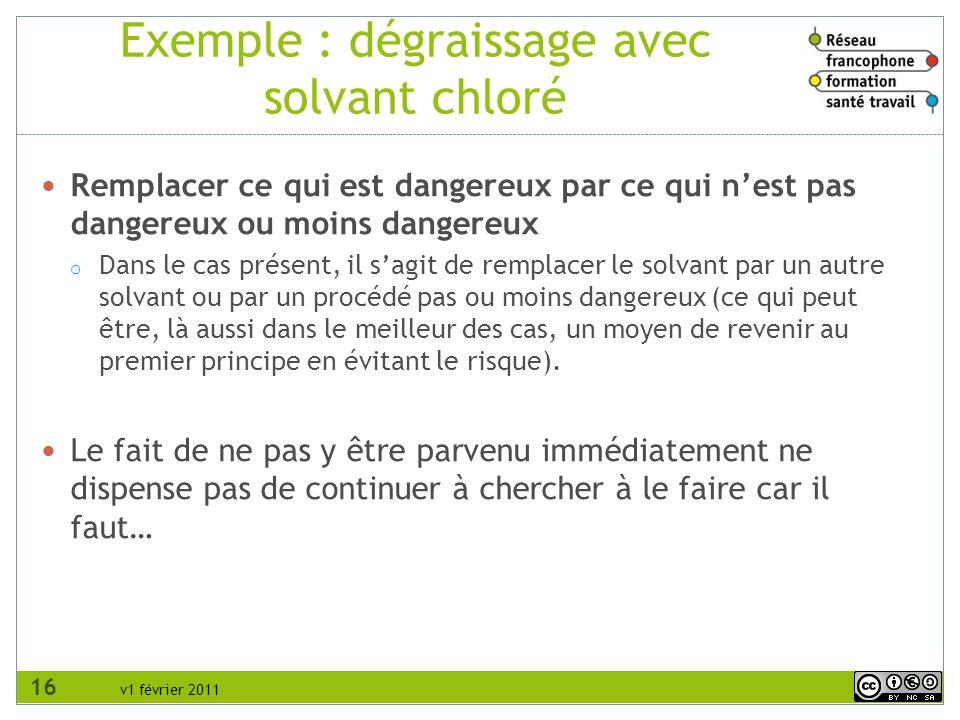v1 février 2011 Exemple : dégraissage avec solvant chloré Remplacer ce qui est dangereux par ce qui nest pas dangereux ou moins dangereux o Dans le ca