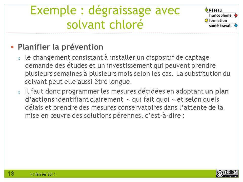 v1 février 2011 Exemple : dégraissage avec solvant chloré Planifier la prévention o le changement consistant à installer un dispositif de captage dema