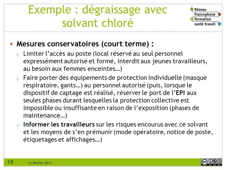 v1 février 2011 Exemple : dégraissage avec solvant chloré Mesures conservatoires (court terme) : o Limiter laccès au poste (local réservé au seul pers
