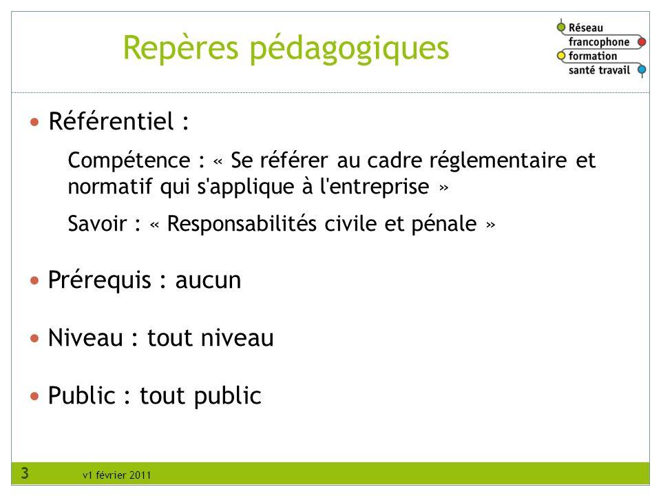 v1 février 2011 Repères pédagogiques Référentiel : Compétence : « Se référer au cadre réglementaire et normatif qui s'applique à l'entreprise » Savoir