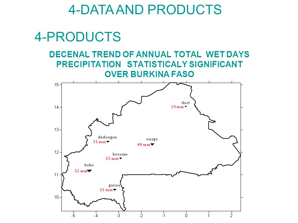 DECENAL TREND OF ANNUAL TOTAL WET DAYS PRECIPITATION STATISTICALY SIGNIFICANT OVER BURKINA FASO 4-DATA AND PRODUCTS 4-PRODUCTS
