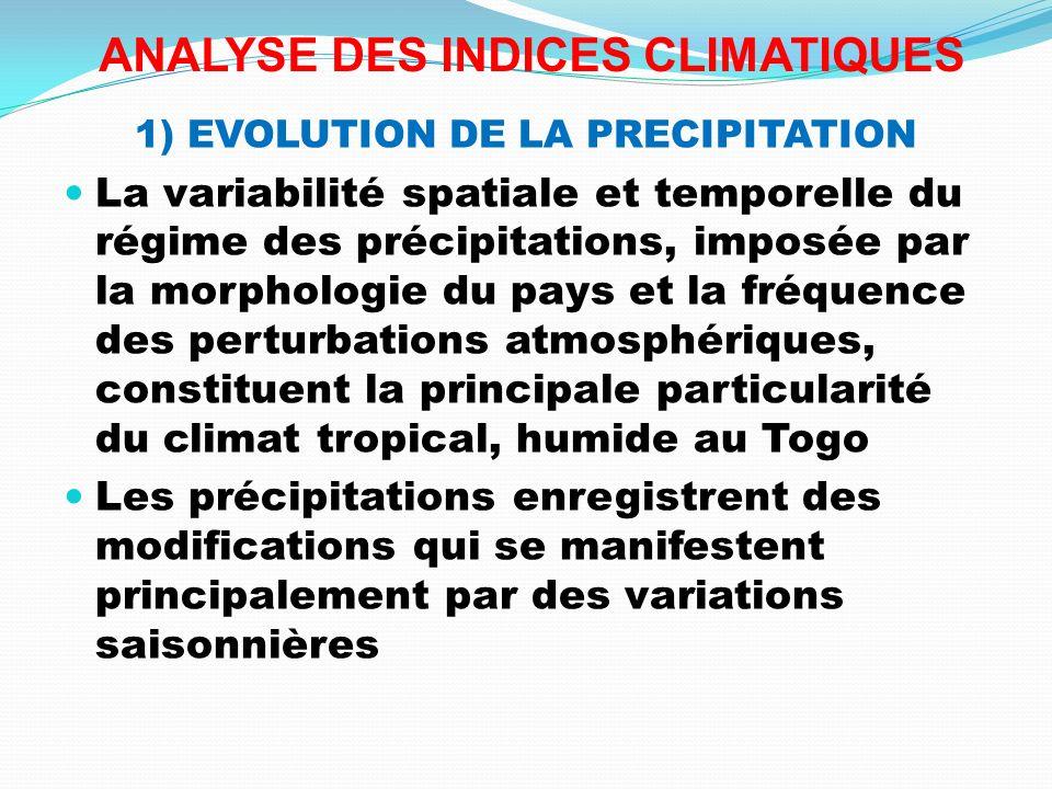 ANALYSE DES INDICES CLIMATIQUES 1) EVOLUTION DE LA PRECIPITATION La variabilité spatiale et temporelle du régime des précipitations, imposée par la mo