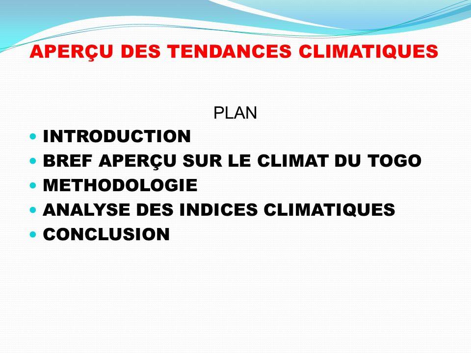 APERÇU DES TENDANCES CLIMATIQUES PLAN INTRODUCTION BREF APERÇU SUR LE CLIMAT DU TOGO METHODOLOGIE ANALYSE DES INDICES CLIMATIQUES CONCLUSION