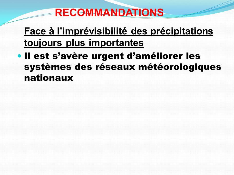 RECOMMANDATIONS Face à limprévisibilité des précipitations toujours plus importantes Il est savère urgent daméliorer les systèmes des réseaux météorol