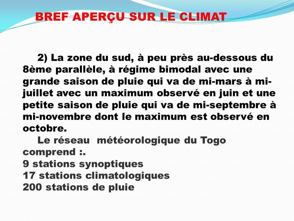 ANALYSE DE LEVOLUTION DES INDICES CLIMATIQUES 2) Les températures minimales Cinq (5) stations: Lomé, Sokodé, Atakpamé, Kouma-Konda et Mango ont une température minimale croissante Deux (2) stations: Kara et Tabligbo ont une températures minimale à tendance croissante Mais la station de Niamtougou a une températures minimale à tendance décroissante.
