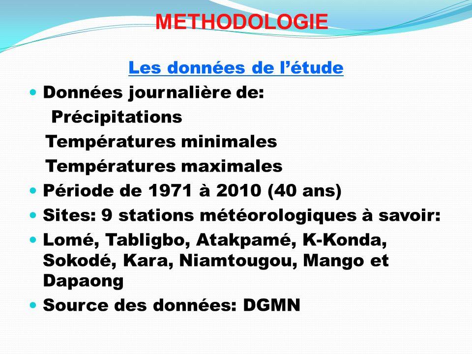 METHODOLOGIE Les données de létude Données journalière de: Précipitations Températures minimales Températures maximales Période de 1971 à 2010 (40 ans