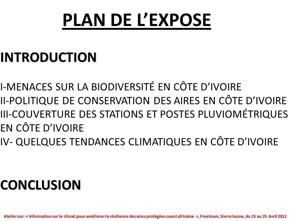Atelier sur: « Information sur le climat pour améliorer la résilience des aires protégées ouest africaine », Freetown, Sierra Leone, du 23 au 25 Avril 2012 INTRODUCTION CONCLUSION INTRODUCTION I-MENACES SUR LA BIODIVERSITÉ EN CÔTE DIVOIRE II-POLITIQUE DE CONSERVATION DES AIRES EN CÔTE DIVOIRE III-COUVERTURE DES STATIONS ET POSTES PLUVIOMÉTRIQUES EN CÔTE DIVOIRE IV- QUELQUES TENDANCES CLIMATIQUES EN CÔTE DIVOIRE CONCLUSION PLAN DE LEXPOSE