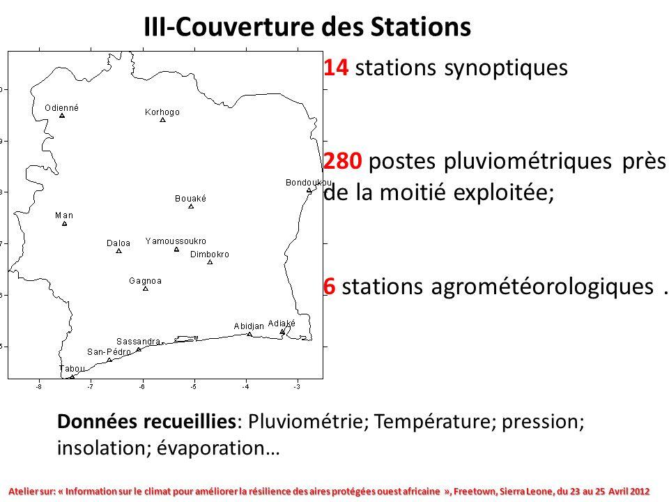 III-Couverture des Stations 14 stations synoptiques 280 postes pluviométriques près de la moitié exploitée; 6 stations agrométéorologiques.