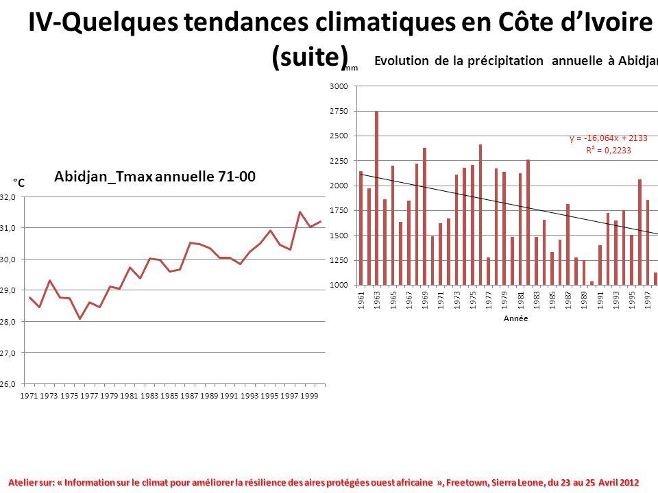 Atelier sur: « Information sur le climat pour améliorer la résilience des aires protégées ouest africaine », Freetown, Sierra Leone, du 23 au 25 Avril 2012 IV-Quelques tendances climatiques en Côte dIvoire (suite)