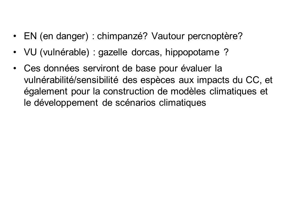 EN (en danger) : chimpanzé? Vautour percnoptère? VU (vulnérable) : gazelle dorcas, hippopotame ? Ces données serviront de base pour évaluer la vulnéra