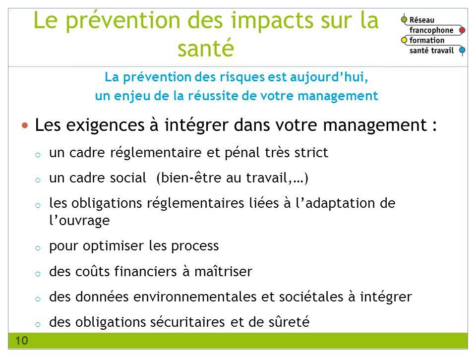 Le prévention des impacts sur la santé Les exigences à intégrer dans votre management : o un cadre réglementaire et pénal très strict o un cadre socia
