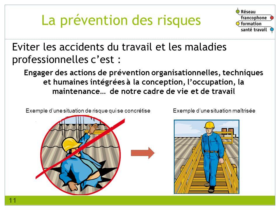 La prévention des risques Eviter les accidents du travail et les maladies professionnelles cest : Engager des actions de prévention organisationnelles