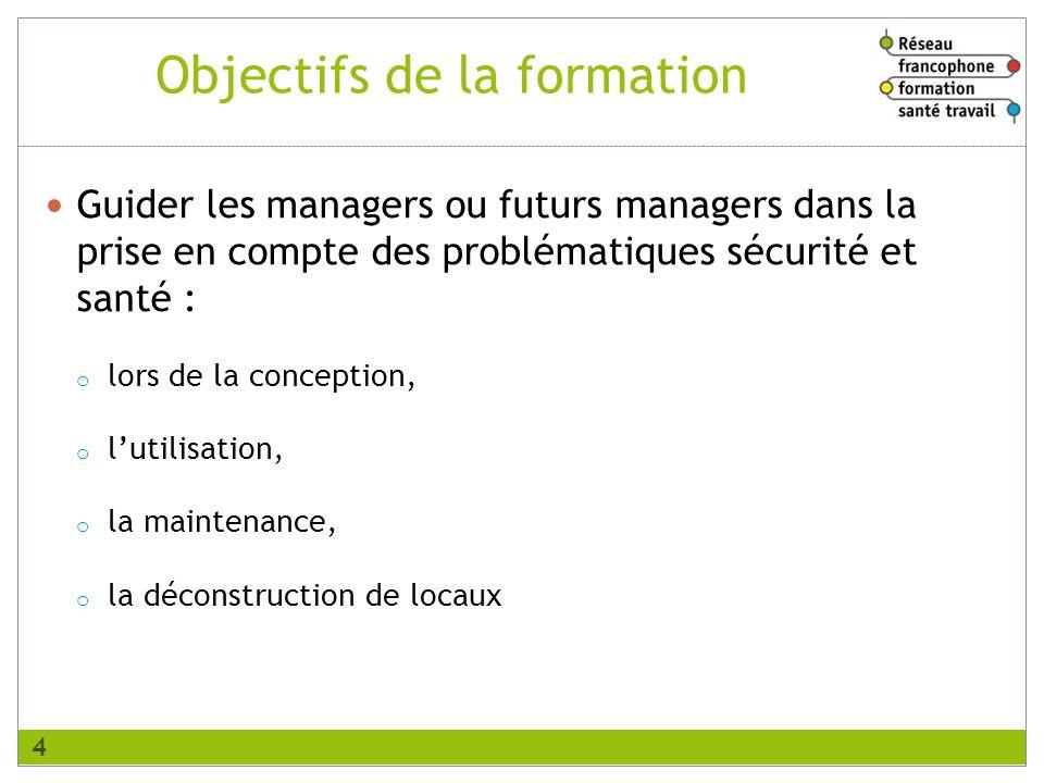 Objectifs de la formation Guider les managers ou futurs managers dans la prise en compte des problématiques sécurité et santé : o lors de la conceptio
