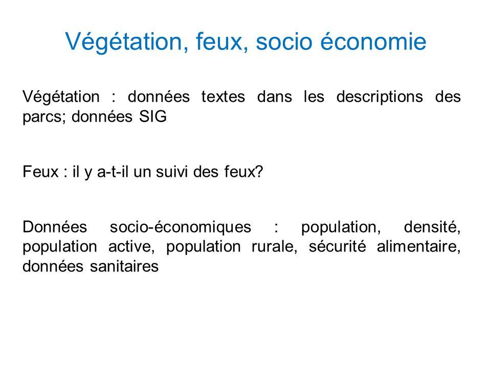 Végétation, feux, socio économie Végétation : données textes dans les descriptions des parcs; données SIG Feux : il y a-t-il un suivi des feux.