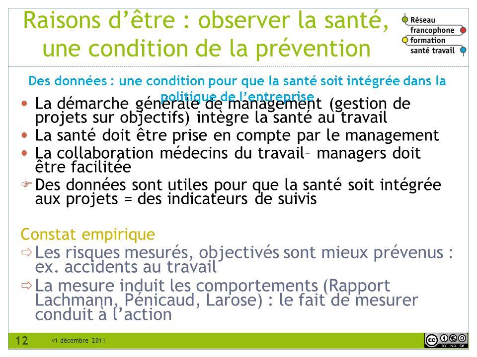 v1 décembre 2011 Raisons dêtre : observer la santé, une condition de la prévention La démarche générale de management (gestion de projets sur objectif