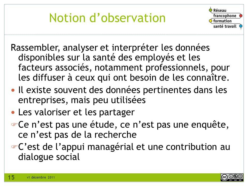 v1 décembre 2011 Notion dobservation Rassembler, analyser et interpréter les données disponibles sur la santé des employés et les facteurs associés, n