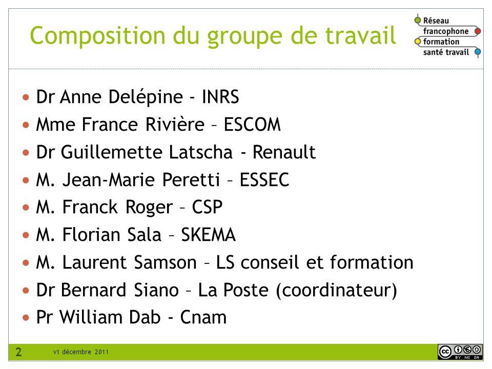 v1 décembre 2011 Composition du groupe de travail Dr Anne Delépine - INRS Mme France Rivière – ESCOM Dr Guillemette Latscha - Renault M. Jean-Marie Pe