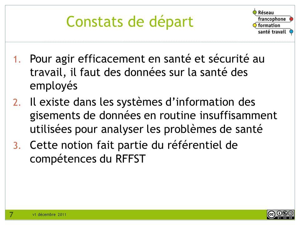 v1 décembre 2011 Constats de départ 1. Pour agir efficacement en santé et sécurité au travail, il faut des données sur la santé des employés 2. Il exi