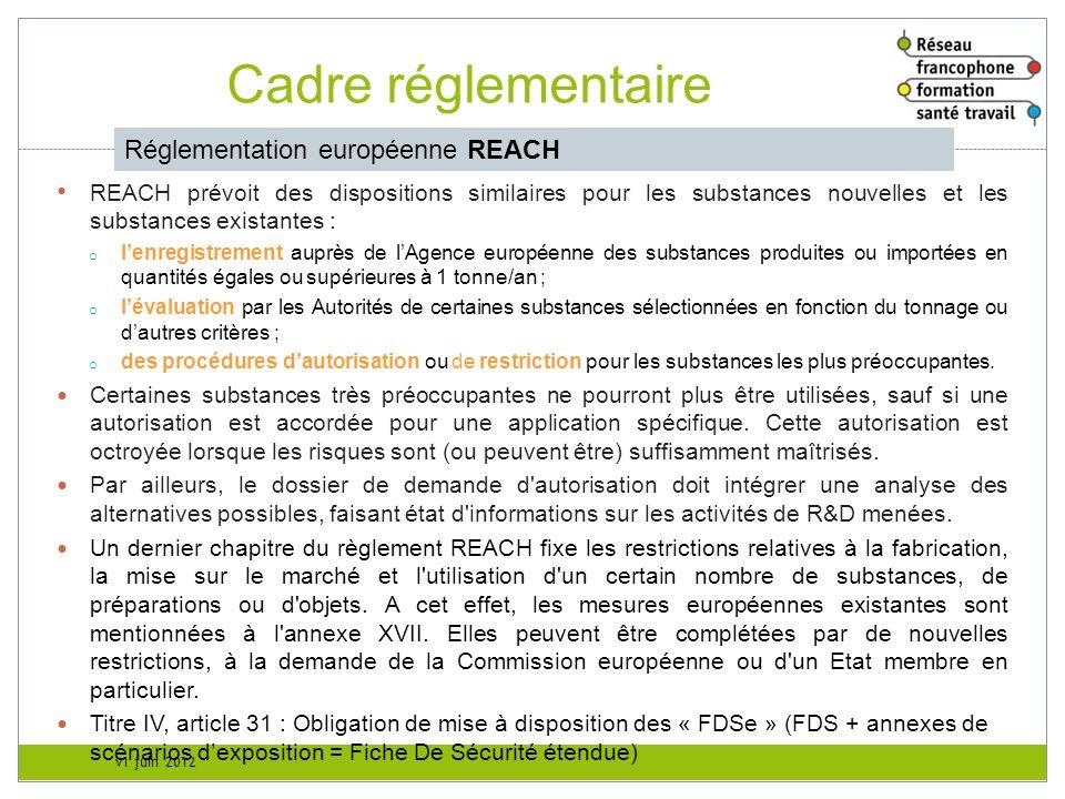 v1 juin 2012 Cadre réglementaire Réglementation européenne REACH REACH prévoit des dispositions similaires pour les substances nouvelles et les substa