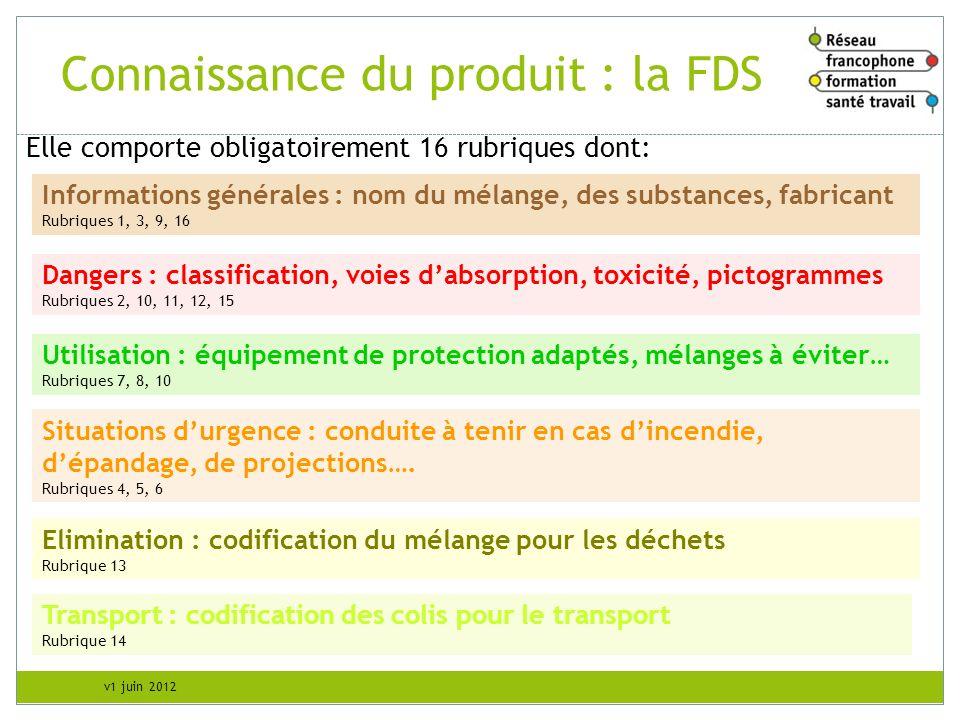 v1 juin 2012 Connaissance du produit : la FDS Elle comporte obligatoirement 16 rubriques dont: Utilisation : équipement de protection adaptés, mélange