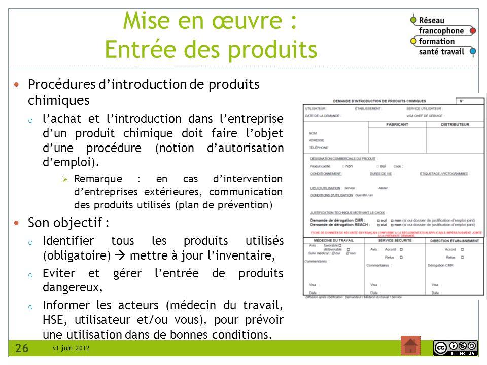 v1 juin 2012 Mise en œuvre : Entrée des produits Procédures dintroduction de produits chimiques o lachat et lintroduction dans lentreprise dun produit