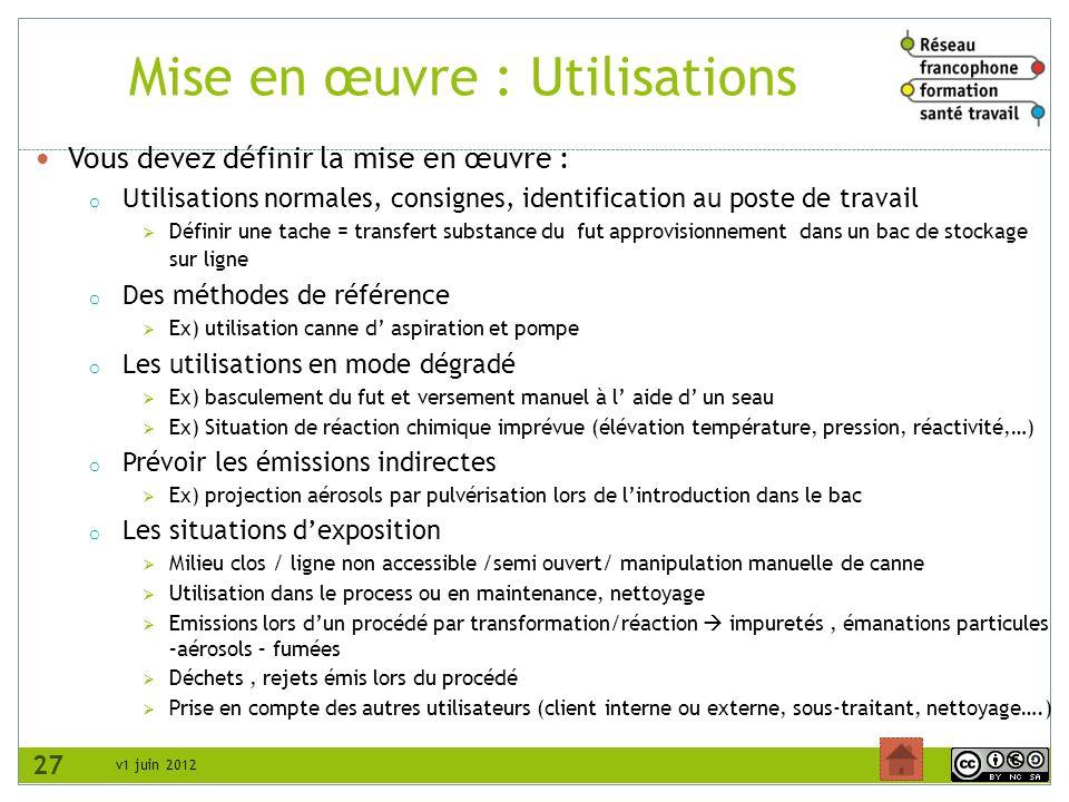 v1 juin 2012 Mise en œuvre : Utilisations Vous devez définir la mise en œuvre : o Utilisations normales, consignes, identification au poste de travail