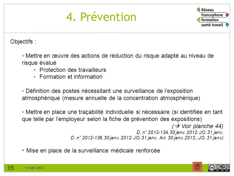 v1 juin 2012 4. Prévention 35 Objectifs : Mettre en œuvre des actions de réduction du risque adapté au niveau de risque évalué Protection des travaill