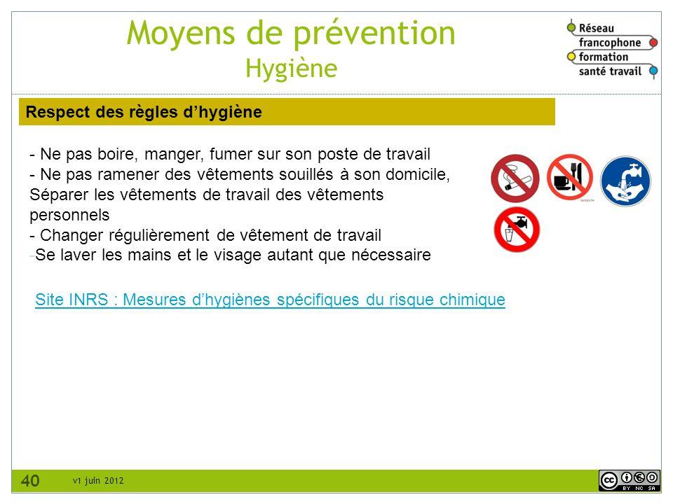 v1 juin 2012 Moyens de prévention Hygiène 40 Respect des règles dhygiène - Ne pas boire, manger, fumer sur son poste de travail - Ne pas ramener des v